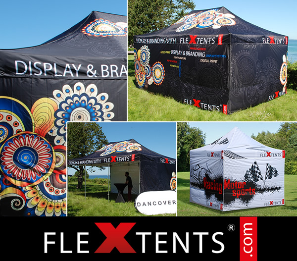 Digitale Full Print op FlexTents® - de toonaangevende Vouwtenten op de markt