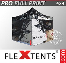 Vouwtent/Easy up tent FleXtents PRO met grote digitale afdruk, 4x4m, incl. 4...