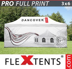 Vouwtent/Easy up tent FleXtents PRO met grote digitale afdruk, 3x6m, incl. 4...
