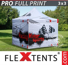 Vouwtent/Easy up tent FleXtents PRO met grote digitale afdruk, 3x3m, incl. 4...