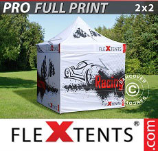 Vouwtent/Easy up tent FleXtents PRO met grote digitale afdruk, 2x2m, incl. 4...