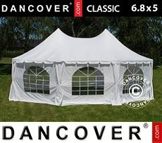Partytent Pagoda Classic 6,8x5m, Gebroken wit